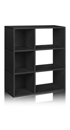 Way Basics - Way Basics 3 Shelf Sutton Bookcase, Black - This no-fuss modern shelving unit is all about simplicity, from assembly to functionality to style. Attach your modular shelves instantly with a super-strong adhesive tape — no diagrams or pegs! The combination of open-backed shelves and enclosed cubes gives you a range of storage possibilities. Made from recycled paper, the unit is lightweight, non-toxic and ecofriendly. What's not to like?