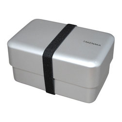 Takenaka - Bento Box Rectangle with Rubber Belt, Silver - Takenaka Bento Boxes have it all - looks, charm and function! The Bento Box Rectangle keeps things simple yet flexible, and includes a rubber belt for stylish closure. Made in Japan, the birthplace of the original bento box - a beautifully creative and convenient way to store and serve food on the go!