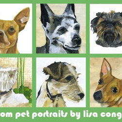 Custom Pet Portrait by lisacongdon on Etsy - Thanks to Houzz Team Member Lily for passing along this very personal and creative gift. Send artist Lisa Congdon a digital picture of a beloved pet, and in 2-4 weeks she will send you back a custom portrait!