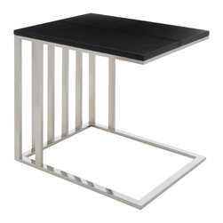 Nuevo Living - El Side Table - Lean and mean in black leather and bright bars of stainless steel, this slick little side table is exactly where you want to put down your drink. Try it next to your favorite chair, your sleek platform bed or your bathtub.