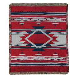 Manual - Red and Blue Flame Southwestern Print Tapestry Throw Blanket 50 Inch x 60 Inch - This multicolored woven tapestry throw blanket is a wonderful addition to your home or cabin. Made of chenille, the blanket measures 50 inches wide, 60 inches long, and has approximately 1 1/2 inches of fringe around the border. The blanket features a red, navy blue and gray Southwestern print. Care instructions are to machine wash in cold water on a delicate cycle, tumble dry on low heat, wash with dark colors separately, and do not bleach. This comfy blanket makes a great housewarming gift that is sure to be loved.