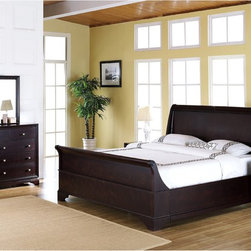 Abbyson Living - Abbyson Living Kingston 5-piece Espresso Sleigh King-size Bedroom Set - Enrich your home decor with this Kingston king-size Sleigh bedroom set. This set features solid oak wood construction and includes a king-size bed,two nightstands,one dresser and one mirror.