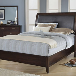 Domusindo - Cushioned Back King-size Wood Sleigh Bed - Add a sophisticated touch to your bedroom decor with this mahogany king-size sleigh bed. The low profile of this bed's design will complement your modern decor. Chocolate faux leather enhances the elegance of this bed's luxurious design.