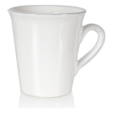 Clos du Manoir Mug - A graceful arched handle, a neat emphasized rim, and a tall, lean profile let the Clos du Manoir Mug convey caf elegance. Easy to match to your decor because its white porcelain construction is both so versatile and so appealing, this mug has an unusual geometry that makes elegant French press coffee feel all the more modish. These transitional mugs complement any dish.