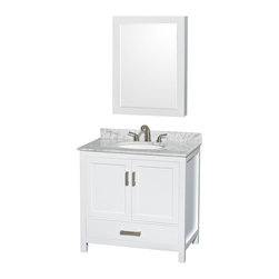 """Wyndham Collection - Sheffield 36"""" White Single Vanity w/ Carrera Marble Top & Undermount Oval Sink - Distinctive styling and elegant lines come together to form a complete range of modern classics in the Sheffield Bathroom Vanity collection. Inspired by well established American standards and crafted without compromise, these vanities are designed to complement any decor, from traditional to minimalist modern. Available in multiple sizes and finishes."""