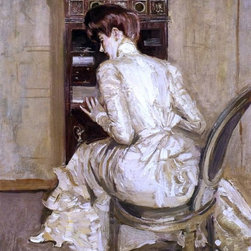"Paul Cesar Helleu Madame Paul Helleu Seated at Her Secretaire Print - 18"" x 24"" Paul Cesar Helleu Madame Paul Helleu Seated at Her Secretaire, Seen from the Back premium archival print reproduced to meet museum quality standards. Our museum quality archival prints are produced using high-precision print technology for a more accurate reproduction printed on high quality, heavyweight matte presentation paper with fade-resistant, archival inks. Our progressive business model allows us to offer works of art to you at the best wholesale pricing, significantly less than art gallery prices, affordable to all. This line of artwork is produced with extra white border space (if you choose to have it framed, for your framer to work with to frame properly or utilize a larger mat and/or frame).  We present a comprehensive collection of exceptional art reproductions byPaul Cesar Helleu."