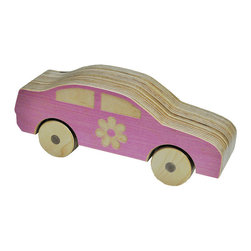 Sophie - Wooden Car - Toy cars aren't just for boys!  Girls like cars too and this sweetie pie was styled and designed just for them.  This cutie pie is sure to leave princesses in the dust...at least for a little while!