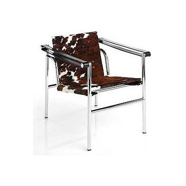Corbusier LC1 Sling Chair - Cowhide | DWR - This sleek chair was designed by architectural master Le Corbusier with Charlotte Perriand and his cousin Pierre Jeanneret, in 1928. It combines a tubular structure with soft and striking cowhide that adds loads of texture to any sleek room.