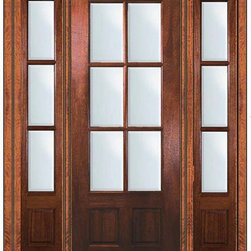 "Pre-hung Patio Side lights Door 96 Wood Mahogany 3/4 Lite 6 Lite - SKU#    LD8355-G-TDL16-2 IGBrand    GlassCraftDoor Type    FrenchManufacturer Collection    6 Lite French DoorsDoor Model    6 LiteDoor Material    WoodWoodgrain    MahoganyVeneer    Price    4150Door Size Options      +$percent  +$percent  +$percent  +$percent  +$percent  +$percentCore Type    Door Style    Door Lite Style    3/4 Lite , 6 LiteDoor Panel Style    2 PanelHome Style Matching    Door Construction    TDLPrehanging Options    PrehungPrehung Configuration    Door with Two SidelitesDoor Thickness (Inches)    1.75Glass Thickness (Inches)    Glass Type    Double GlazedGlass Caming    Glass Features    Low-E , Tempered ,  Low-E , BeveledGlass Style    Glass Texture    ClearGlass Obscurity    No ObscurityDoor Features    Door Approvals    Wind-load Rated , FSC , TCEQ , AMD , NFRC-IG , IRC , NFRC-Safety GlassDoor Finishes    Door Accessories    Weight (lbs)    628Crating Size    25"" (w)x 108"" (l)x 52"" (h)Lead Time    Slab Doors: 7 Business DaysPrehung:14 Business DaysPrefinished, PreHung:21 Business DaysWarranty    One (1) year limited warranty for all unfinished wood doorsOne (1) year limited warranty for all factory?finished wood doors"