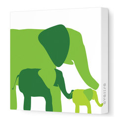 """Avalisa - Animal - Elephants Stretched Wall Art, Green Hue, 12"""" x 12"""" - Avalisa Children's Art creates canvas wall art that is modern in style and simple in design."""