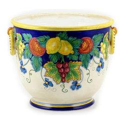 Artistica - Hand Made in Italy - Majolica Frutta: Round Cachepot Planter - Majolica Frutta Collection.