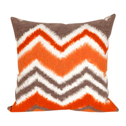 """Orange Zigzag IKAT Print 20"""" By 20"""" Decorative Throw Pillow - This beautiful indoor / outdoor decorative throw pillow is made of 100% polyester microfiber. The cover has a zipper closure so you can take out the fiberfill inner pillow for hand-washing if you need to. The pillow measures 20 inchs by 20 inches. It looks just as great in your home or on your patio or wherever you want a dash of color."""