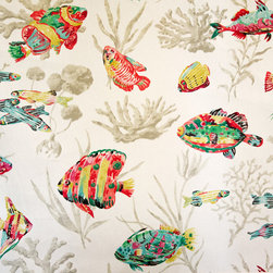 Tropical fish fabric ocean coral funky watercolor white - A tropical fish fabric. An ocean reef coral fabric with the look of a watercolor. This fish fabric has a touch of whimsey!