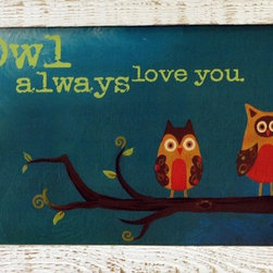 MyBarnwoodFrames - Owl Always Love You Marla Rae Art Print in White Reclaimed Wood Frame - Owl Always Love You framed print by Marla Rae. This charming print features two wide-eyed owls in orange, brown, and mustard yellow tones perched on a tree branch with a teal background. Frame is 1.5 inch reclaimed barnwood with a distressed whitewash finish. Beautiful combinations of colors make this a fun addition to any child's bedroom.