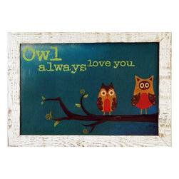 MyBarnwoodFrames - 'Owl Always Love You' Art Print by Marla Rae, White Reclaimed Wood Frame - Owl Always Love You framed print by Marla Rae. This charming print features two wide-eyed owls in orange, brown, and mustard yellow tones perched on a tree branch with a teal background. Frame is 1.5 inch reclaimed barnwood with a distressed whitewash finish. Beautiful combinations of colors make this a fun addition to any child's bedroom.