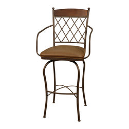 """American Heritage - American Heritage Havana Stool in Ginger Spice with Nutmeg Leather - 30 Inch - The lattice back and soft sweeping legs brings a lot of attention to the Havana stool. The ginger spice frame and nutmeg leather 3"""" swivel cushion will certainly make a statement in your beautiful home."""