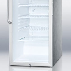 """Summit - SCR450LCSS 20"""" 4.1 cu. ft. Refrigerator With Glass Door  Fully Finished Cabinet - SUMMIT SCR450LBI Series features auto defrost glass door refrigerators designed for built-in use in any 20 wide space"""