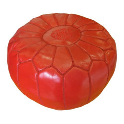 Kenza - Moroccan Leather Pouf / Ottoman, Red - Moroccan Leather Pouf made of 100% leather with silk embroidery. Perfect for indoors and can be used around the house and as an extra seat around coffee tables or next to a sofa. Can also be used as an ottoman. Dimensions: Diameter: 21 Inches Height: 11 Inches