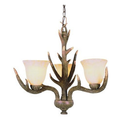 Trans Globe Lighting - Trans Globe Lighting 7080 Three Light Up Lighting Chandelier Country St - Three light up lighting Chandelier featuring crushed stone glassRequires 3 60w Medium Base Bulb (Not Included)