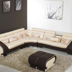 Adjustable Advanced 1/2 Italian Leather Sectional - Features: