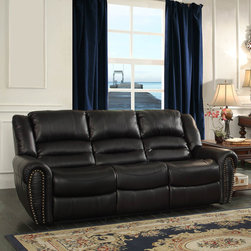 Homelegance - Homelegance Center Hill Double Reclining Sofa in Black Leather - With plush seating that is uncommon in most traditional looks  the design of Center Hill Collection will be a welcome addition to your living room. Offered in bonded leather match  the covering comes in either dark brown or black. With traditional nailhead accent lending an elegant statement to each piece and the easy recline mechanisms adding to the comfort  the lovely Center Hill Collection will provide your friends and family a warm environment to spend their quality moment.