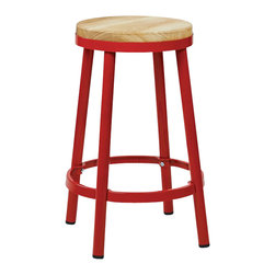 """Office Star - Office Star Bristow Metal Backless Barstool in Red-26"""" Height Barstool - Office Star - Bar Stools - BRW32269 - Need a little something to complete your dining style/look? This simple yet stylish barstool will be great to add to your dining room or kitchen. Ready to assemble when received. OSP Designs Bristow Metal Backless Barstool (Red Finish Frame)"""