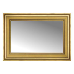 """Posters 2 Prints, LLC - 29"""" x 21"""" Arqadia Gold Traditional Custom Framed Mirror - 29"""" x 21"""" Custom Framed Mirror made by Posters 2 Prints. Standard glass with unrivaled selection of crafted mirror frames.  Protected with category II safety backing to keep glass fragments together should the mirror be accidentally broken.  Safe arrival guaranteed.  Made in the United States of America"""