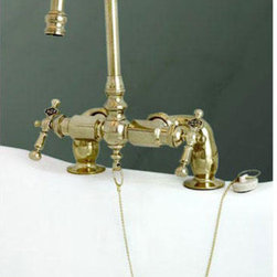 Antique Deck-Mount Tub Faucet - Bring a sense of history and antique refinement to your bathroom with this charming gooseneck tub faucet. The intricate detail of the brass handle lettering and chiseled appearance of the faucet body make this an unforgettable addition to your home
