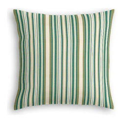 Teal & Green Stripe  Custom Euro Sham - The secret to those perfectly made beds you eye in magazines? Euro shams. Complete your bed set with a set of Simple Euro Shams for a look that�۪s as stylish as it is snuggly.  We love it in this teal and green woven stripe that can be as traditional as it is trendy.