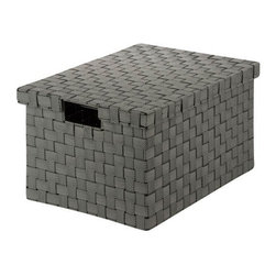 Honey Can DO - Woven File Box - Salt & Pepper, Large - Our Large File Box, Black/White. Store your documents in style with this contemporary file box that includes a matching lid. Compatible with letter and legal size documents, the box has built-in file racking and cut out handles on the side of the lid. The durable woven strapping will stand the test of time and add a unique look to your office.