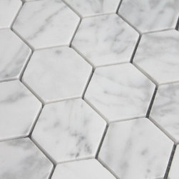 "$10.87SF Carrara (Carrera) Bianco Honed 2"" Hexagon Mosaic Tile - Carrara Bianco is an exclusive Italian natural stone marble collection for Builders Depot Direct. Bianco Carrara is a collection of premium marble mosaics, field tiles and accessories rivaling that of brand name premium Carrara products offered by specialty tiles stores for a fraction of the cost."