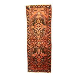 eSaleRugs - 3' 10 x 10' 2 Hamedan Persian Runner Rug - SKU: 110899152 - Hand Knotted Hamedan rug. Made of 100% Wool. 40-50 Years(Semi Antique).