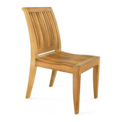 Westminster Teak Furniture - Laguna Teak Dining Chair - Take the party outside with this teak dining chair. It has a transitional style that sits well with both traditional and modern dining tables. The lumbar backrest and scooped seat invite your guests to linger just a little longer after dinner is done.