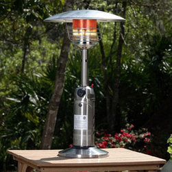 Fire Sense - Stainless Steel Table Top Patio Heater - Perfect for outdoor entertaining, our Stainless Steel Table Top Patio Heater provides warmth while adding ambience to any outdoor table top setting. This handsome unit raises the outdoor temperature 10-25 degrees. The safety features of this CSA approved unit include an auto shut off tilt valve and an oxygen depletion sensor. 10,000 BTU output. CSA approved.