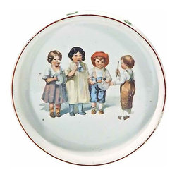 """German Porcelain Children's Dish - Vintage German porcelain children's dish depicting a child conducting a children's band playing musical instruments. Letters of the alphabet are on the side, letters: """"A - H"""". Marked: """"Germany"""" on the bottom"""