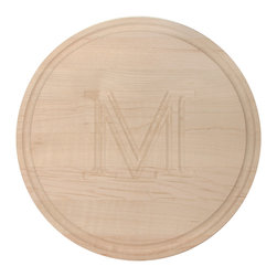 None - Monogrammed Round Maple Cutting Board - The maple cutting board is a true, culinary-grade cutting board that makes for a fabulous gift. This cutting board is beautifully monogrammed and comes equipped with non-slip cushioned feet attached with stainless steel screws.