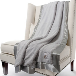 """Little Giraffe - Little Giraffe Luxe Faux Fur Double Throw Blanket - Wrap yourself in soft luxury with the exquisite Faux Rabbit Fur Double Throw Blanket from Little Giraffe. This extra snuggly blanket is trimmed in coordinating satin making it irresistible.  Luxe faux fur is 100% polyester. Machine washable, air dry. Select from a wide assortment of colors. 59"""" x 88""""."""