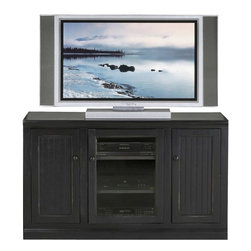 Eagle Furniture Manufacturers - Coastal Thin 55 in. Tall Entertainment Console (Bright White) - Finish: Bright White. One glass panel door. Two adjustable wood shelves. Two bead board doors. Two fixed wood shelves. Decorative molding. Bead board detailing. Made from poplar, birch solids and veneers. Warranty: Eagle's products are guaranteed against material defects for one year from date of delivery to the dealer. Made in USA. No assembly required. 55 in. W x 17 in. D x 32 in. H (91.33 lbs.)The Coastal collection fits today's casual lifestyle. Recessed doors, bead board panels and solid wood moldings provide a clean, contemporary style that is complemented by a choice of painted or rich stained finishes