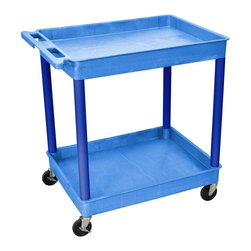 Luxor Furniture - 2-Tier Tub Cart in Blue - Four heavy duty 4 in. casters, two with brake. Stain, scratch, dent and rust resistant. Retaining lip around back and sides of flat shelves. Handle molded into top shelf. Shelves reinforced with two aluminum bars. Made of high density polyethylene structural foam molded plastic. Made in USA. Shelf: 2.75 in. deep. Clearance between shelves: 24.75 in.. Overall: 32 in. L x 24 in. W x 37.25 in. H. Warranty. Assembly Instructions