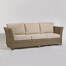 Grandin Road - Alyssa Outdoor Sofa with Cushions - A wicker collection with sculpted flare, perfect for wide-open and compact outdoor spaces alike. All woven pieces are crafted from natural, all-weather wicker over sturdy aluminum frames. Woven seating pieces feature curved seat backs and arms, and are further stabilized with all-weather resin block feet. Metal accent and coffee tables are finished to resemble weathered teak. Woven Calais accent and coffee tables feature lower shelves for keeping outdoor necessities within reach. Cultivate your own easygoing and romantic hideaway outdoors with the Alyssa Outdoor Furniture Collection. This group delivers a comfortable mix of shapes and materials, perfect for any outdoor setting, large or small. Pieces offer natural, all-weather wicker sculpted over sturdy aluminum frames. Select from woven Calais accent and coffee tables with lower shelves, or opt for metal tables, finished to resemble weathered wood. The possibilities are endless, and the value is outstanding.. . . . .