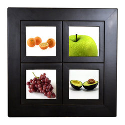 """MyBarnwoodFrames - Small Windowpane Frame, 16.5 x 16.5 Inches With 5x5 Panes, Black Wood Lightly - A windowpane collage frame that will hold four (4) individual 5x5-inch pictures. Outer frame is 2 inches wide. This outside frame surrounds four individual 1-inch frames, each with a 5x5-inch photo opening. Frame includes glass and cardboard backings. Frame edges will cover up the outside 1/4"""" inch of your images, so the viewable area of the photograph from the front of the frame is 4.5 x 4.5 inches. The window pane configuration allows you to install photographs, small paintings, prints, and even small 3-dimensional items if glass is removed. Remove cardboard backings by bending up the flexible push points on the back of the frame, then install your image, replace backing, and bend push points back into place. Hanging hardware is pre-installed. Painted black with a lacquer finish. Frame edges are lightly sanded (distressed). Proudly made in the USA."""