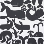 Little Whales Wallpaper - Little Whales wallpaper by Geoff McFetridge comes in three color combinations. I like this black white pattern best.