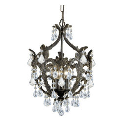 Crystorama - Crystorama 5195-EB-CL-MWP Legacy 5 Light Mini Chandeliers in English Bronze - Make a statement in any foyer or hallway with Crystorama Legacy Collection. This distinctive wrought iron fixture mixes the warm tones of the English Bronze with clear Majestic Wood Polish Crystal accents to create a classically styled traditional chandelier.