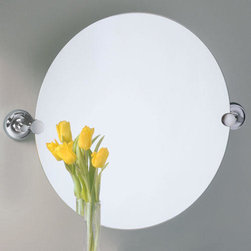 Designer II Round Tilting Mirror - Chrome - This round mirror features the Designer II mounting brackets in a Chrome finish. Complete your bathroom with complementing pieces from the collection.