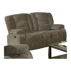 Coaster - Coaster Charlie Double Reclining Love Seat in Brown Sage Velvet - Coaster - Loveseats - 600992 - Bringing a simplistic style into the home this casual styled family room loveseat is all about creating a comfortable atmosphere. Designed to create an up-to-date style with a casual look this loveseat focuses on plush padded cushions with pillow-topped arms and smooth rounded sides. Soft velvet upholstery with high density padding provides a relaxed way to spend an evening at home while pocket coil seating and channeled backs add a touch of support for rejuvenation. Pair this piece with its coordinating collection to seat six guests at once with five reclining seats.
