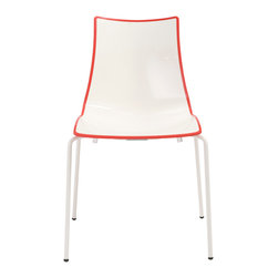 Eurostyle - Zebra Chair (Set of 4) - White/Red/White - Recyclable polymer