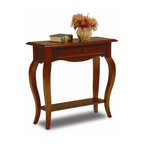Leick Furniture - Favorite Finds Wood Console Table - Cabriole legs. Dovetailed, solid wood drawer box. Solid hardwoods. Minimal assembly required. 30 in. W x 12 in. D x 28 in. HDrawer storage and plentiful display options make for a high impact presentation. The solid wood construction ensures that this table will hold up to everyday use.