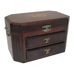 ecWorld - Barcelona Classsic Wooden Jewelry Armoire Box Chest - Keep your most valuable treasures safe inside the Barcelona jewelry chest. A hand-rubbed mahogany finish and bronze knobs lend richness to the exterior while two drawers and top compartment ensure all your trinkets stay organized and tangle-free.