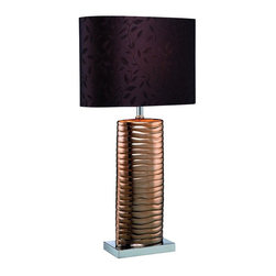 Lite Source - Copper Table Lamp with Fabric Shade from the Fantino Collection - Lite Source LS-21281COPPER Fantino Table Lamp This product from Lite Source comes in a copper finish. It is offered with brown fabric w/ leaf pattern sh