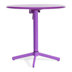 ZUO - Big Wave Round Folding Table - Purple - Adds a bold dash of color to any outdoor space. The Big Wave Folding Table series is made of epoxy coated steel that's durable enough for any climate. Easily folds up for storage when not in use. Comes in white, purple, lime or aqua. Sold separately.